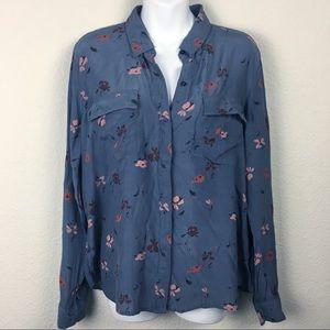 Lucky Brand gray floral button-down shirt top